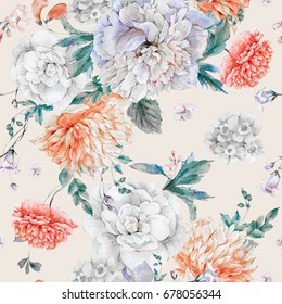 Vintage watercolor seamless pattern with blooming peonies and wild flowers, Watercolor natural botanical illustration on beige background