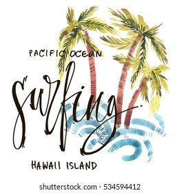 Vintage watercolor summer surfing print with typography design, palm trees, waves and lettering. Tropical set, fashion , T-shirt .