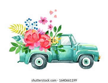 Vintage watercolor turquoise truck. Spring summer illustration of old retro car with flower, leaves, heart decor.