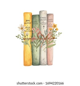 Vintage watercolour illustration books with flowers