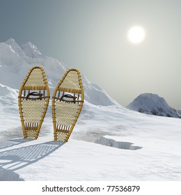 Vintage webbed wooden snowshoes standing in the snow atop a cold mountain. Hazy bright sun sky, Rich shadows and colors. Original illustration.
