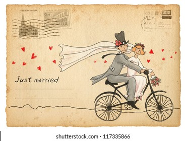 Vintage wedding greetings card. Groom and bride on a bicycle