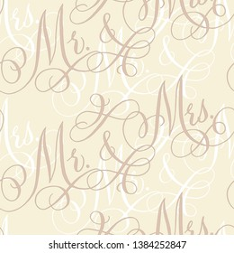 "Vintage wedding seamless pattern with hand-written traditional words ""Mr. and Mrs."""