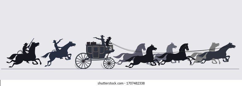 Vintage Western Stagecoach. Old Wild West horse-drawn Carriage with the coach. Armed riders chasing a stagecoach