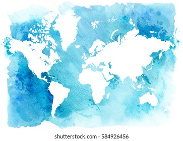 Vintage white map of the world on a blue background. Watercolor illustration.