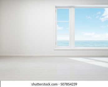 Vintage white room with  window in beach house - 3D rendering