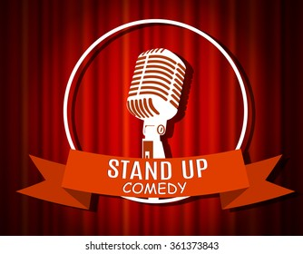 Vintage white silhouette microphone icon against red curtain backdrop. mic on empty theatre stage, image illustration. stand up comedian night show background. retro design. ribbon Raster version