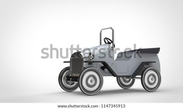 Vintage white toy car - 3D Illustration