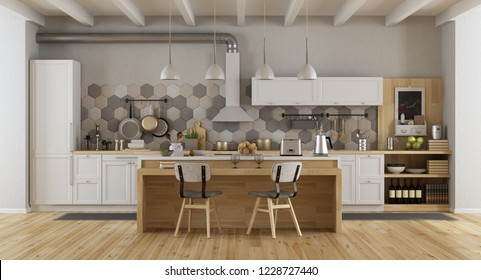 Vintage white and wooden kitchen with island and chairs - 3d rendering
