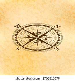 Vintage wind rose symbol in isometric view, classic compass icon on old paper