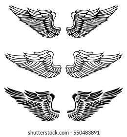 Vintage wings isolated on white background. Design elements for logo, label, emblem, sign, brand mark.