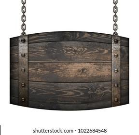 Vintage wood barrel signboard for restaurant hanging on chains isolated 3d illustration