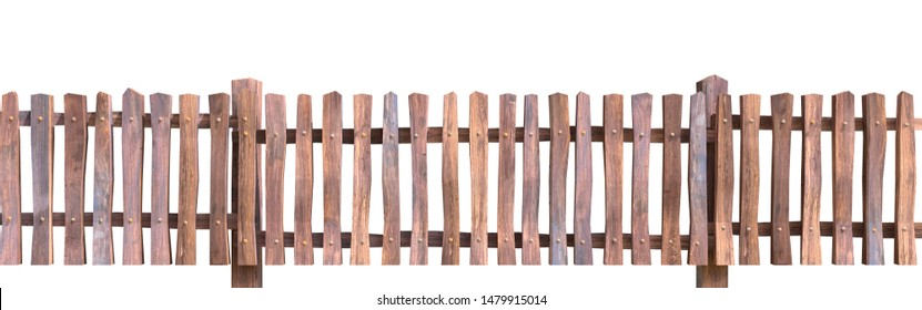 vintage wood fence on white background, 3d rendering image and clipping path included.