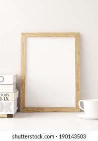 Vintage wood frame in interior