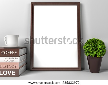 Vintage wood frame in interior and coffee books