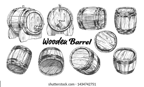 Vintage Wooden Barrel In Different Side Set . Collection Of Barrel For Production, Storaging And Shipping Alcoholic Drinks. Monochrome Equipment Object For Liquid Cartoon Illustration