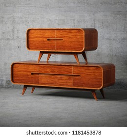 Vintage wooden furniture 3D render
