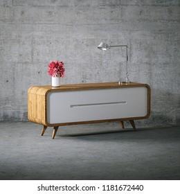 Vintage wooden mid century tv stand 3d render