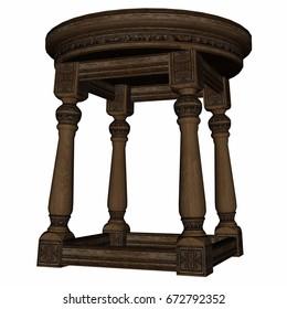 Vintage wooden stool - 3D render