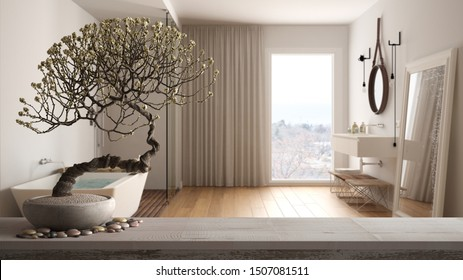 Vintage wooden table shelf with pebble and potted bloom bonsai, white flowers, over contemporary bathroom with bathtub, modern interior design, zen clean architecture concept idea, 3d illustration