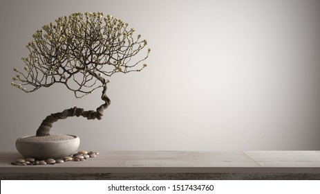 Vintage wooden table shelf with pebble and potted bloom bonsai, white flowers, white background with copy space, zen concept interior design, 3d illustration