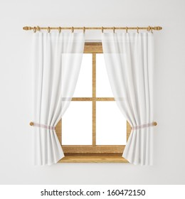 vintage wooden window frame with curtain isolated on white background