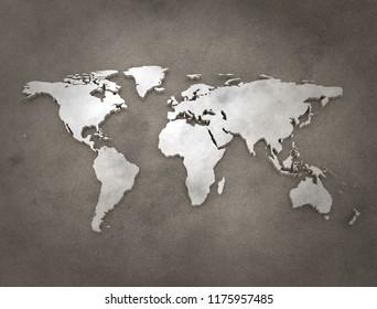Vintage world map 3d render