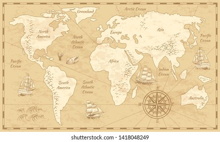 Vintage world map. Ancient world antiquity paper map with continents ocean sea old sailing background
