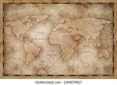 vintage world map illustration based on image furnished by NASA