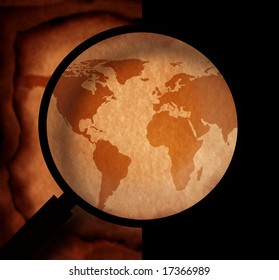 Vintage world map with magnifying glass