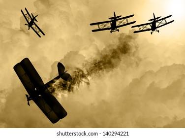 ビンテージ世界は1台のビプレーンと戦い、曇り空で犬との戦いに従事した。敵機を撃ち落とすのに成功した。オリジナルのイラスト画像。