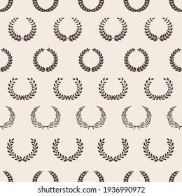 Vintage wreath pattern. Greek laurel, awards seamless texture. olive branches background