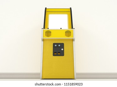 A vintage yellow unbranded arcade machine with a blank screen on a vintage room background - 3D render