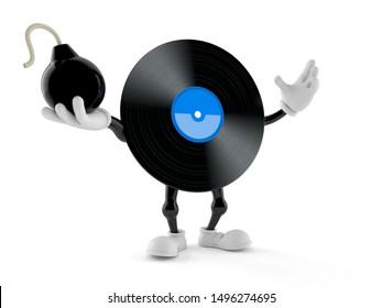 Vinyl character holding bomb isolated on white background. 3d illustration