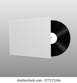 vinyl disc with its cover template for your design illustration.