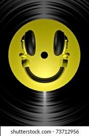 vinyl headphone smiley