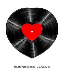 Vinyl heart record / 3D illustration of heart shaped vinyl record