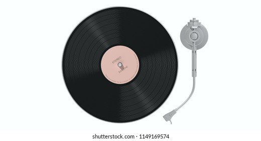 Vinyl LP record player isolated, cutout on white background, top view. 3d illustration