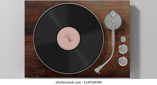 Vinyl LP record player, wooden, isolated on grey background, top view. 3d illustration