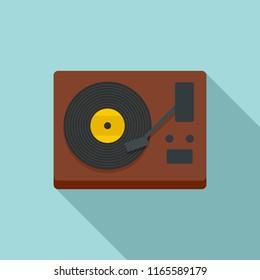 Vinyl player icon. Flat illustration of vinyl player icon for web design