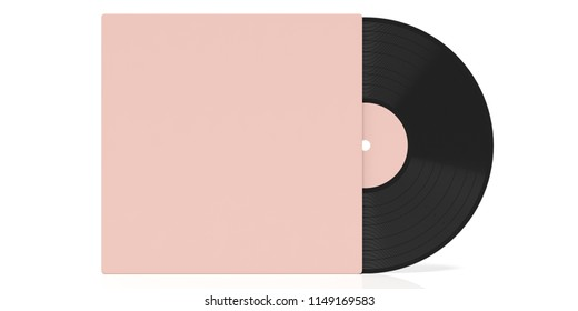 Vinyl record album LP and pink color cover isolated, cutout on white background, space for text. 3d illustration