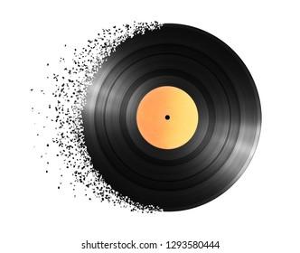 Vinyl record disintegration on white background