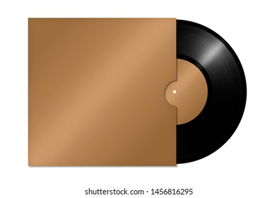 Vinyl record in an envelope on a white background. golden