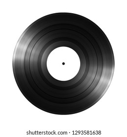 Vinyl record lp album disc; isolated long play disk with empty label.