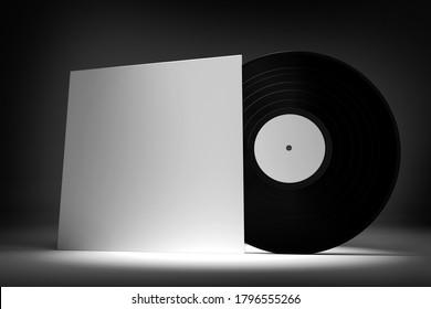 Vinyl Record Mockup view - 3d rendering