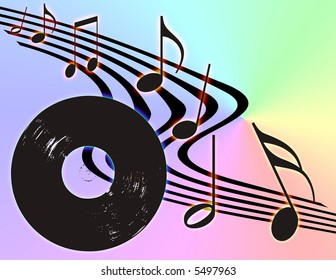 Vinyl record and Musical notes