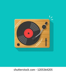 Vinyl record player illustration, flat cartoon retro vintage turntable playing melody icon isolated image