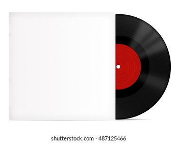 Vinyl record with red label and white cover mock up
