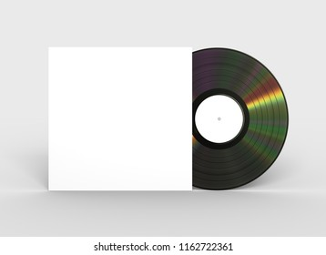 Vinyl Record And White Paper Case. 3D Illustration.