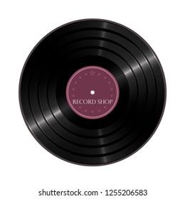 Vinyl shop icon. Color illustration of a vinyl disc.